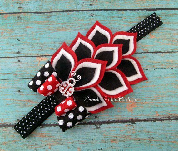 RED, Black & White Dahlia Felt Headband - Polka Dot Lady Bug Headband - Newborn - Infant - Baby - Toddler - Girl - Teen - Adult - Photo Prop. $17.50, via Etsy.