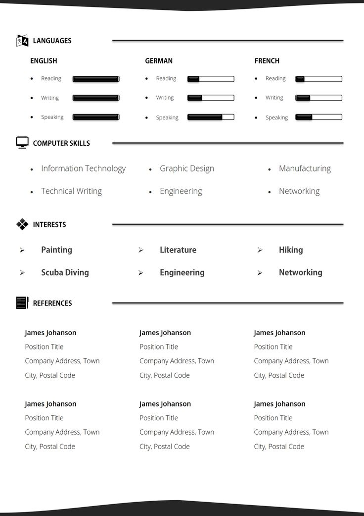 Mejores 12 imágenes de Black and White Resume Template + Cover ...