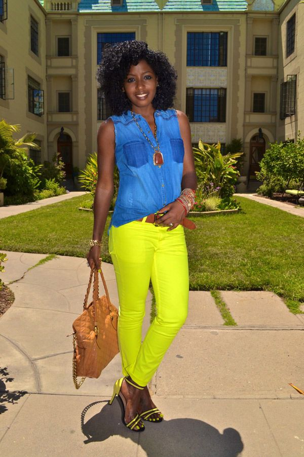 Sleeveless Denim Shirt + Neon Skinnies + Neon Sandals