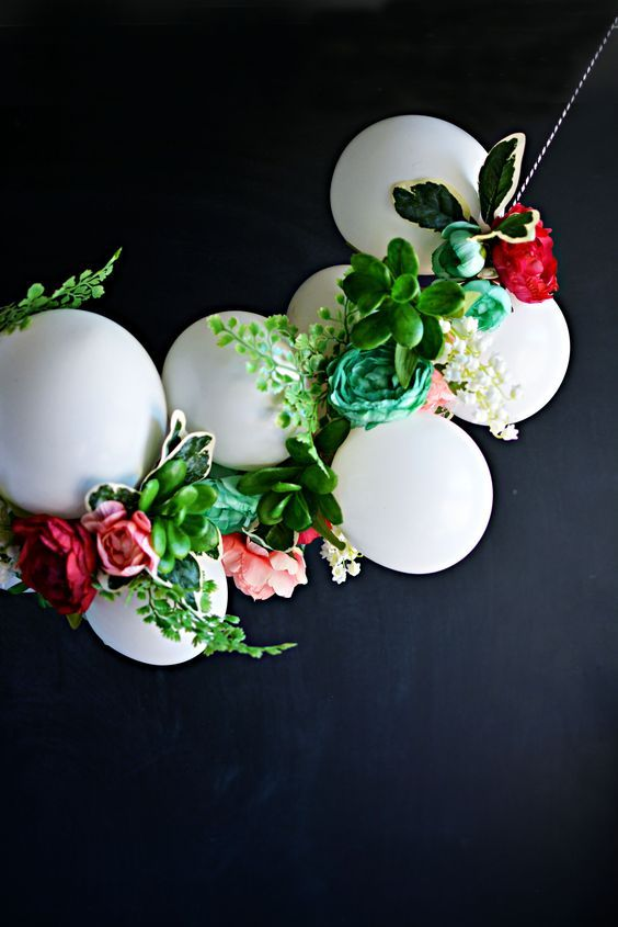 Festive Balloon & Flower Garland using white balloons, faux greenery and spring faux flowers AD