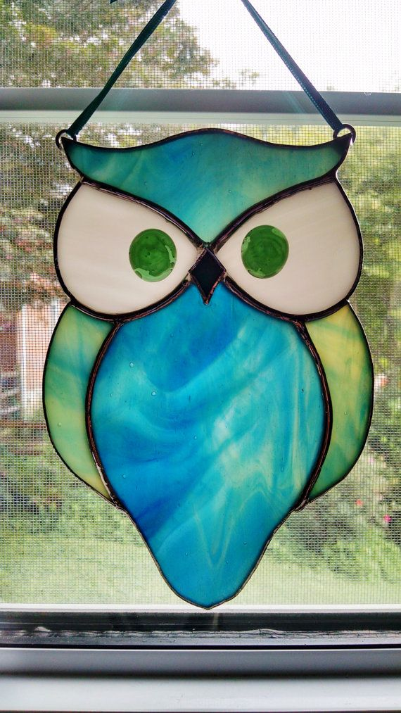 Stained Glass Owl Suncatcher Bird Ornament by StainedGlassYourWay