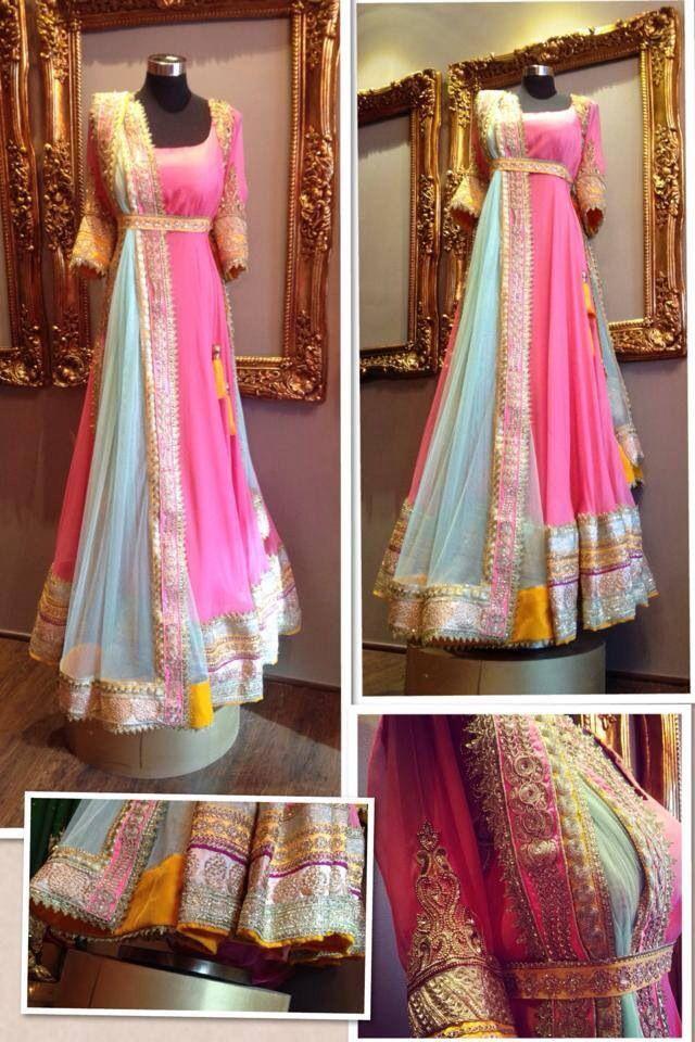 Candy Pink & Blue Embroidered #Anarkali.