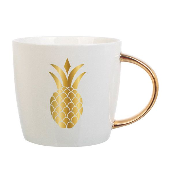 A symbol of all things fun and exotic, the uber trendy pineapple makes yet another appearance! Sip your morning coffee and dream of all the places you've been and wish to go. Metallic on ceramic. 14 o