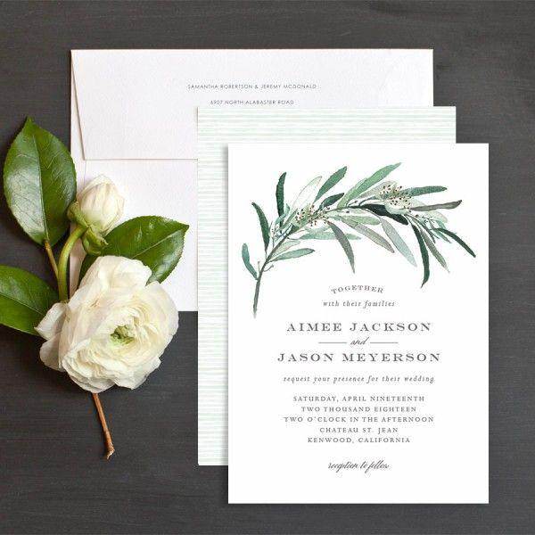 Lush Greenery Wedding Invitations by Emily Crawford   Elli