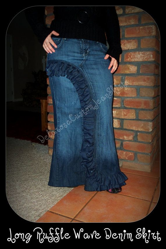 Custom Order to Your size Front Ruffle Wave Long Jean Skirt size 16 and up. $75.00, via Etsy.