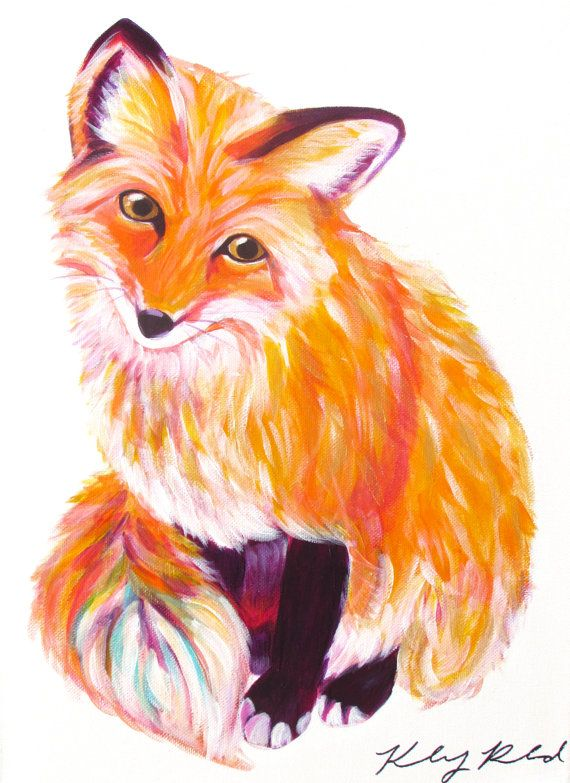COLORFUL ACRYLIC FOX PAINTING    -Hand painted on a 12×16 canvas    A completely original and unique creation that makes for a perfect gift or