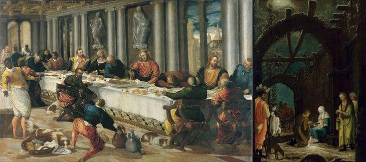 """Anonymous Venetian  """"La Última Cena /The Last Supper"""", óleo sobre lienzo / oil on canvas, 121 x 190 cm., c. 1570.  Museo Thyssen-Bornemisza (Madrid, España /Spain)  Der./Right: """"Maestro de la Adoración Thyssen /Master of Adoration Thyssen""""  """"La Adoración de los Reyes /Adoration of the Kings"""", Óleo sobre tabla /oil on wood, 62 x 42,5 cm., c. 1520  Colección Thyssen-Bornemisza, en depósito en el /on deposit inMuseu Nacional d'Art de Catalunya  (Barcelona, España /Spain)"""