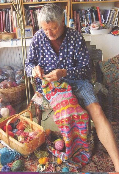 Photo of Kaffe Fassett at work, from the book Knitting with The Color Guys