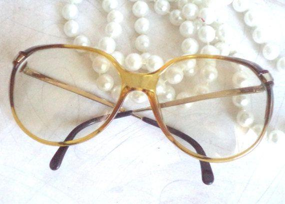 80s Viennaline round Eyeglasses Clear Amber Diva by MushkaVintage3