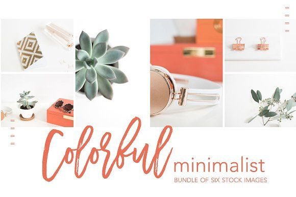 With pops of color and rose gold accents, this stock photo bundle is sure to instantly catch the attention of your fans and followers! ($20). #ad #plant #spring #cactus #minimal #stock #photo #bundle #photography #eucalyptus #social
