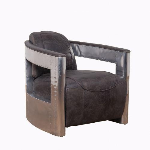 "Råtøff og eksklusiv Old Amsterdam lenestol i smokey black ""vintage leather"" med rammeverk i metall."