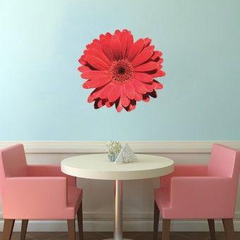 Gerbera rosie : Stickere Colorate - ★ Stickere Decorative ★ Stickere.Net ✫ Autocolante decorative de perete ®