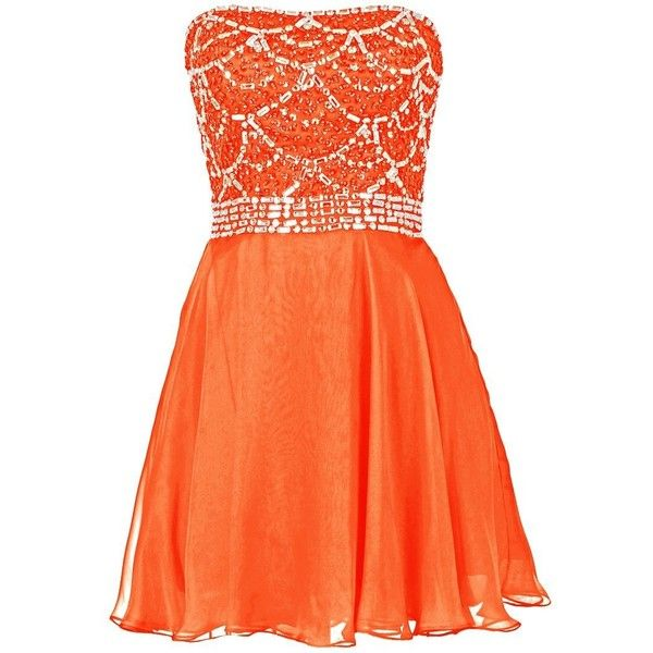 Dresstells Short Bridesmaid Dress Homecoming Dress with Beadings ($100) ❤ liked on Polyvore featuring dresses, short dresses, orange cocktail dress, beaded mini dress, short cocktail dresses and bridesmaid dresses