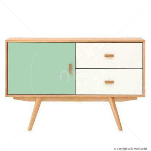 Sofia Sideboard - Scandinavian Furniture - Green & White - Milan Direct
