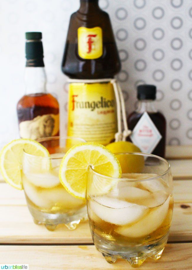 Drink Bliss: Hazelnut Bourbon Sour Recipe-2 ounces Frangelico hazelnut liqueur 1 ounce Bourbon ½ ounce simple sugar (equal parts sugar and water, combined) 4-5 drops of aromatic bitters squeeze of lemon juice