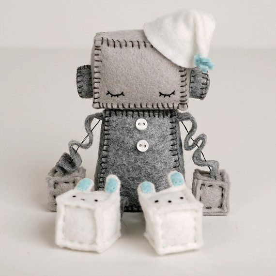 It is taking a lot of self restraint to not buy all these little baby robots!!  Sleeping Robot Plush in Blue Sleepy Robot Felt Doll by GinnyPenny, $40.00