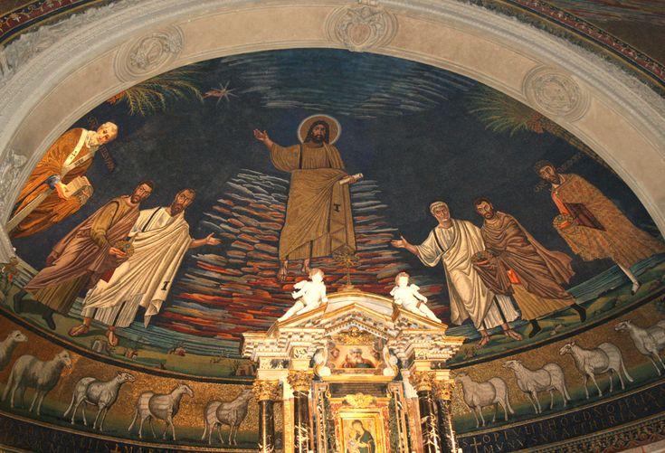 Basilica dei Santi Cosma e Damiano, Roma Il mosaico dell'abside, risalente al 530. Forse l'ultimo capolavoro della pittura romana paleocristiana.