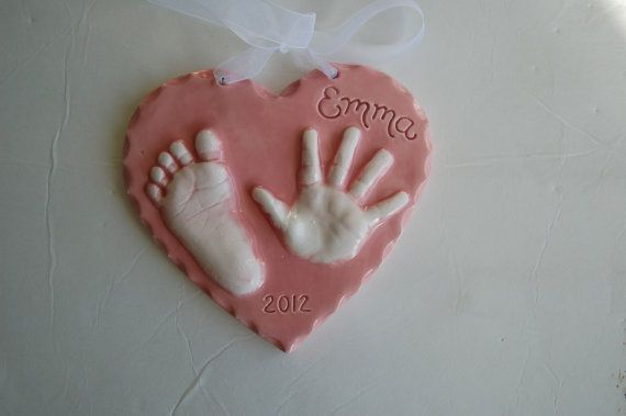Baby Ornament / Personalized Hand and Footprint by Dprintsclayful