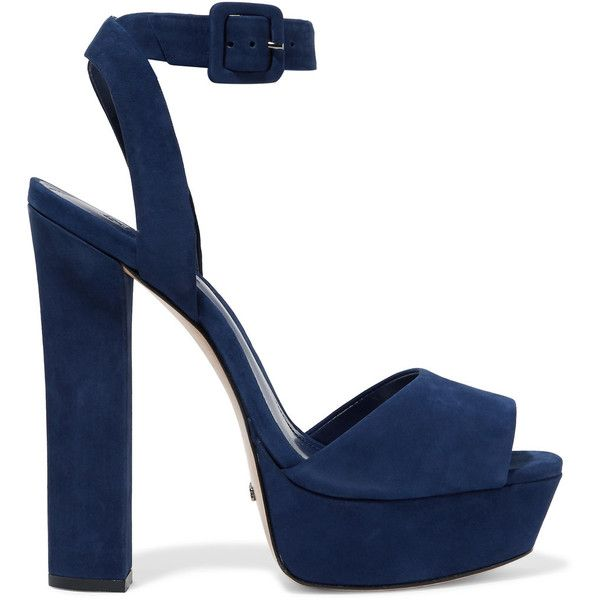 Schutz - Amatista Suede Platform Sandals ($100) ❤ liked on Polyvore featuring shoes, sandals, heels, storm blue, heeled sandals, strappy high heel sandals, blue sandals, block heel sandals and high heel stilettos