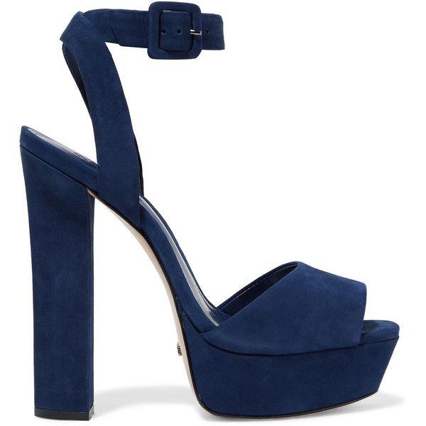 Schutz - Amatista Suede Platform Sandals ($100) ❤ liked on Polyvore featuring shoes, sandals, heels, storm blue, heeled sandals, strappy high heel sandals, blue sandals, block heel sandals and high heel stilettos
