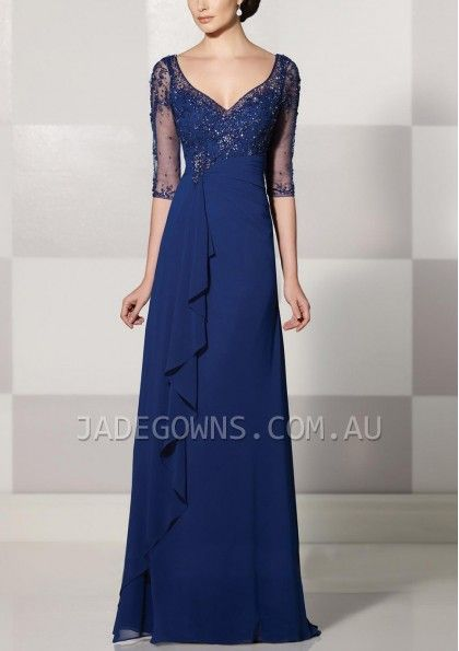Dark Royal Blue V-neck Evening Gown - 1507924 - Evening Dresses