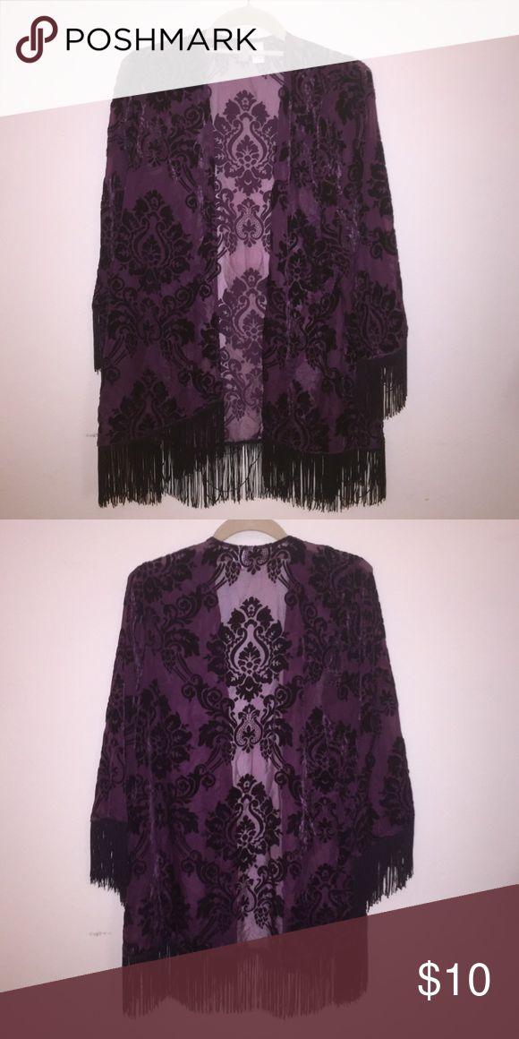 Sheer Kimono Sheer kimono with velvet paisley designs and fringe on the bottom and sleeves. Forever 21 Intimates & Sleepwear Robes