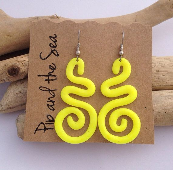 Fluorescent yellow curly eco resin earrings on surgical steel hooks.
