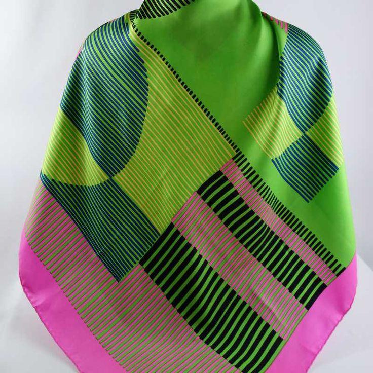 "BIANCHINI FERIER Vintage Silk Twill Scarf 31"" Bold Abstract MOD Op Art Design Hand Rolled Hem"
