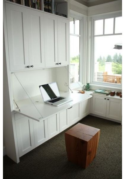 desk built in Love this idea (including cabinets for file storage) for media…