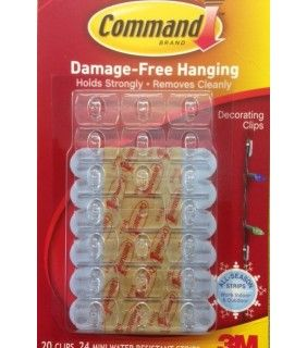 3M Command clear Decoration / Light Clips - clear hook waterproof 17026H 3M products ...