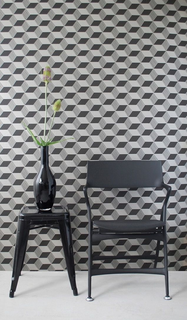 Ferm Living Geometric Wallpaper - Squares ..... Or..... Imagine doing this as a stencil!!!!