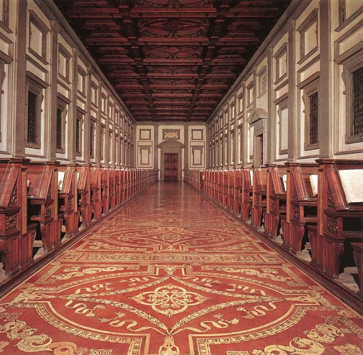 Interior of the Laurentian Medici Library of Florence, Italy