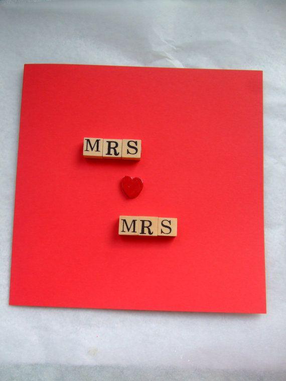 Unique Card Making Ideas Part - 50: Gay/Lesbian Wedding - Mrs Loves Mrs - Unique - Wedding Or Engagement Card