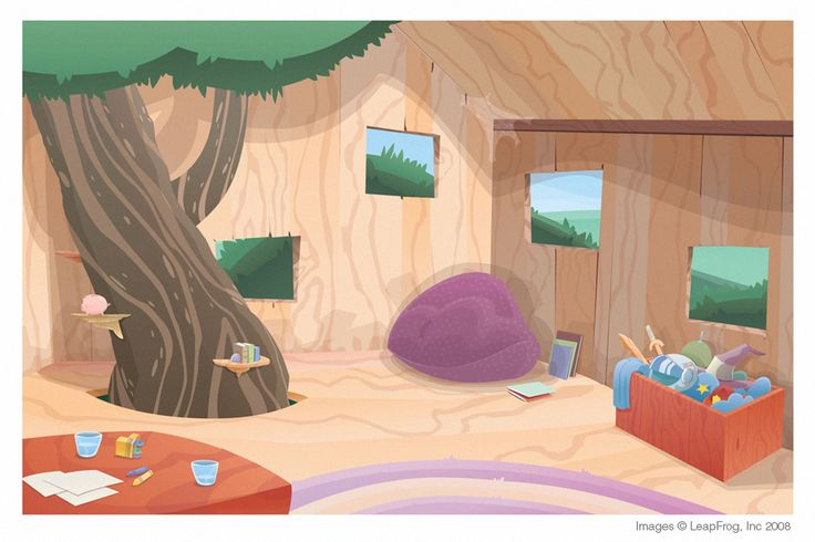 tree house interior picture 2d cartoon background