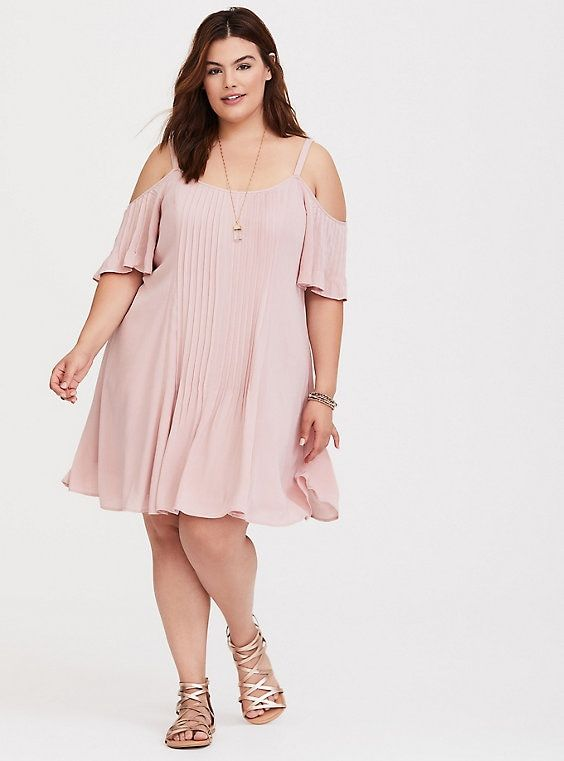 bac7db0af6 Mauve Cold Shoulder Gauze Trapeze Dress | Fashion Envy | Dresses ...