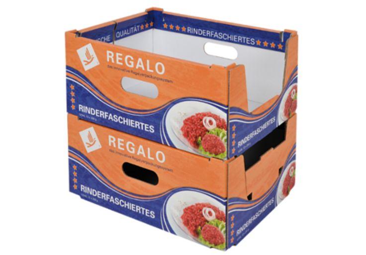 REGALO - das innovative Regalverpackungssystem • Mit REGALO haben wir die herkömmliche #Regalsteige optimiert: Höhere Stabilität bei geringerem Materialverbrauch, einfachere Stapelung und ein ansprechender Auftritt im Regal sind klare Vorteile dieser neuen Lösung für das #Kühlregal. • #T4P, #Lebensmittelverpackung, #Wurstverpackung