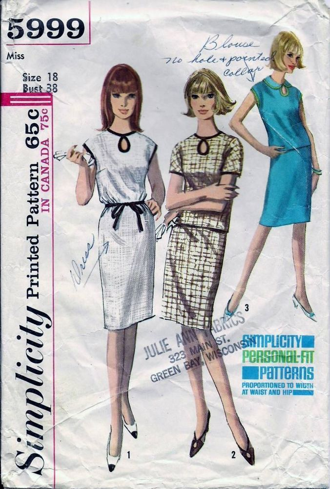Vintage 60s Dress or Top & Skirt Sewing Pattern 5999 B38 18