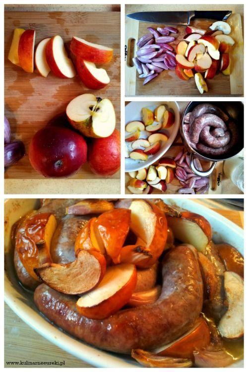 Biała kiełbasa zapiekana z jabłkami i szalotką