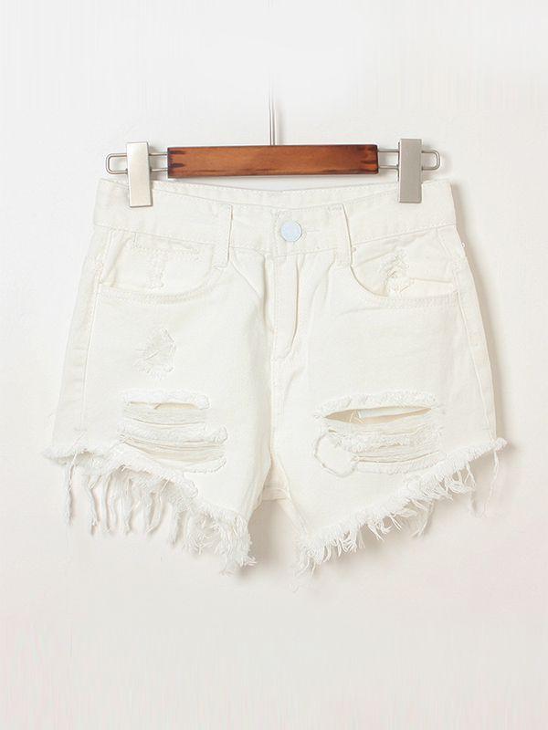 High Waist Pockets Street Frayed Button Fly Shorts : KissChic.com