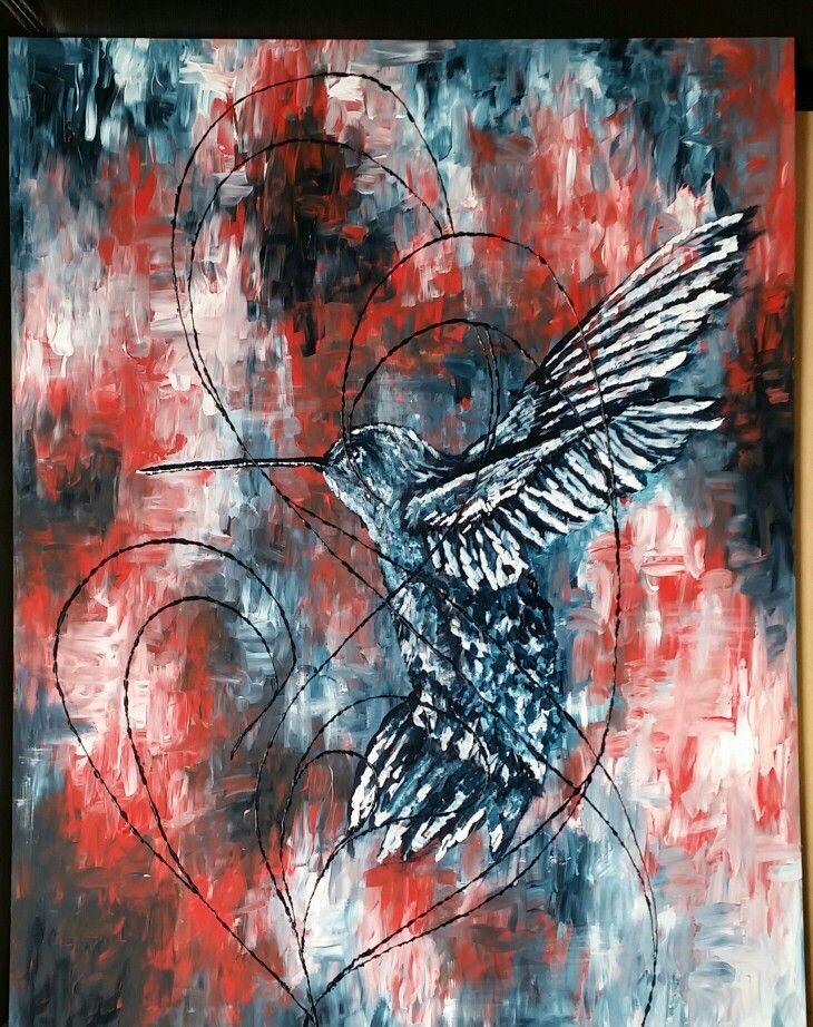 Painting in progress .... hummingbird nz art