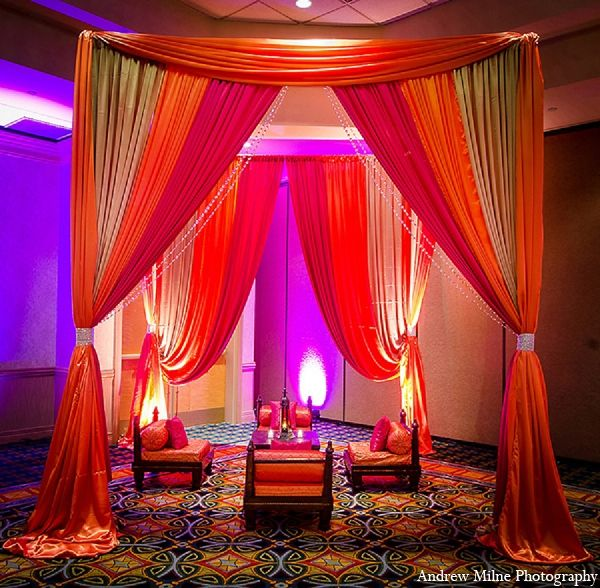 This bride and groom wed in style with opulent decor, tons of treats, and chic wedding garb. They choose various color palettes including bright and bold colors for the sangeet and a more traditional approach to the wedding.