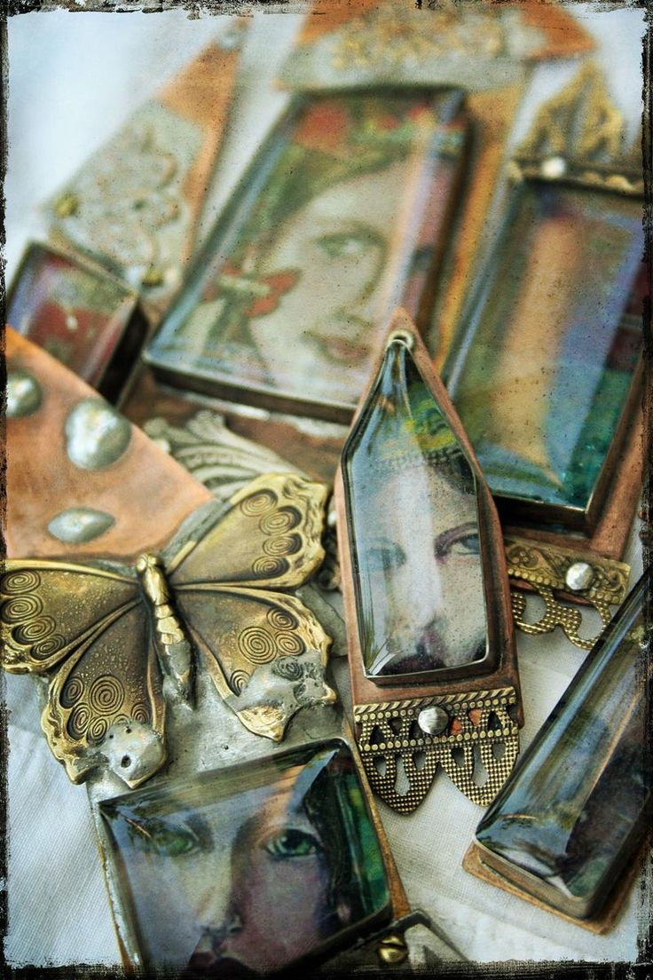 mixed media jewelry.... handmade metal bezels and IceResin interiors