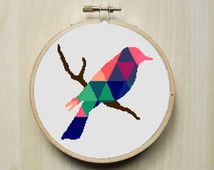 Modern Counted Cross Stitch Pattern | Colourful Patterned Bird Silhouette | Instant Download PDF