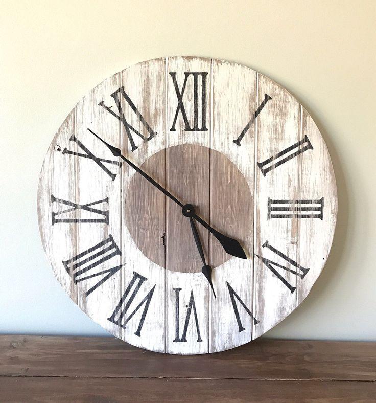 Farmhouse Wall Clock Large Wall Clock 24 inch