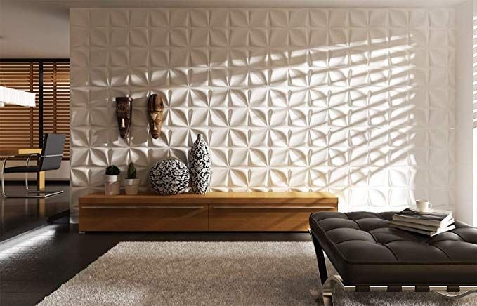 Amazon Com Art3d White Wall Panels Moden 3d Wall Decor Moon Surface Design 12 Tiles 32 S Unique Living Room Wallpaper Living Room Modern Living Room Designs