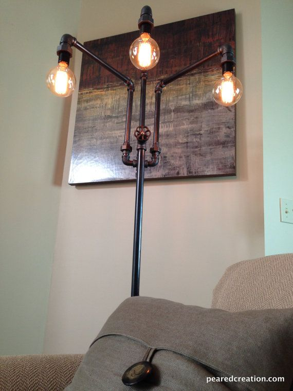 Adjustable Floor Lamp Industrial Furniture by newwineoldbottles.  POSSIBLY ADD PIECES TO FLOOR LAMP TO MAKE IT MORE INDUSTRIAL.