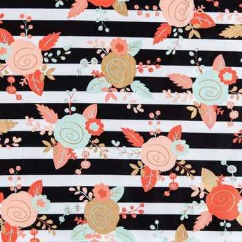 Black, White, Mint & Blush Piper Floral Apparel Fabric-At Hobby Lobby