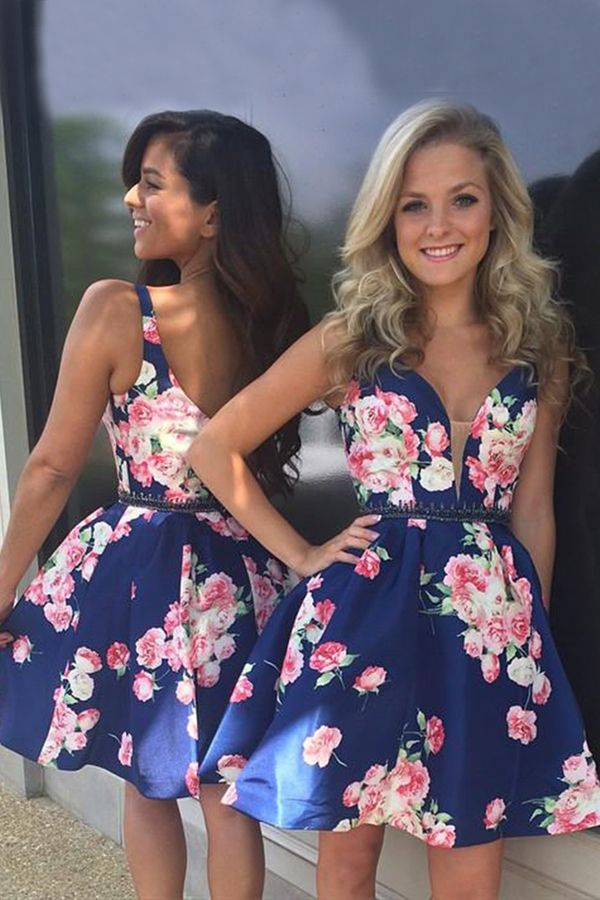 f30c6b9f5e chic v-neck short dark blue printed homecoming dress with beading# homecomingdress#floral