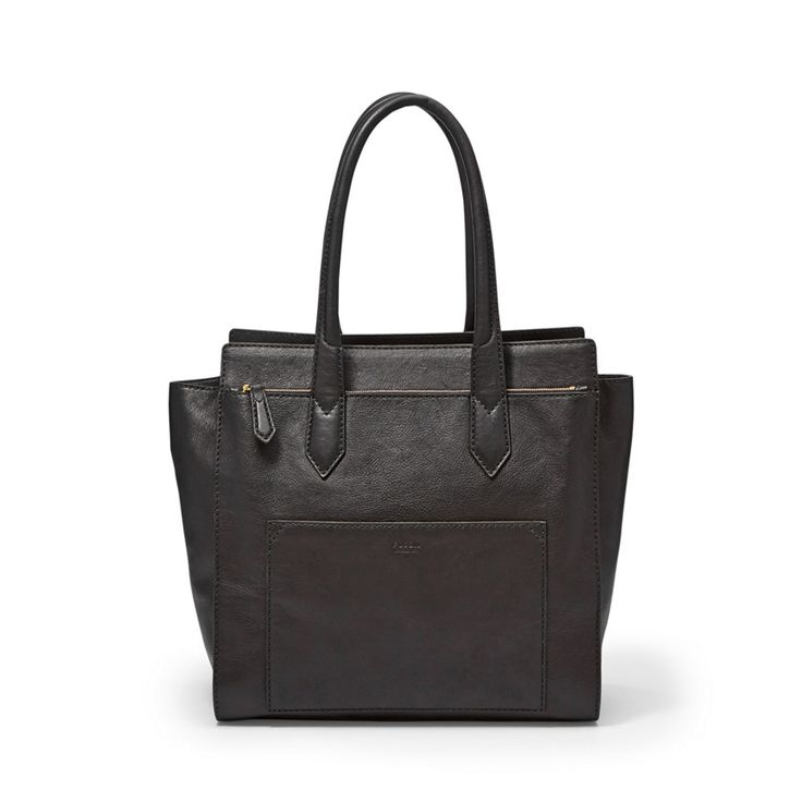 Fossil knox leather tote bag black