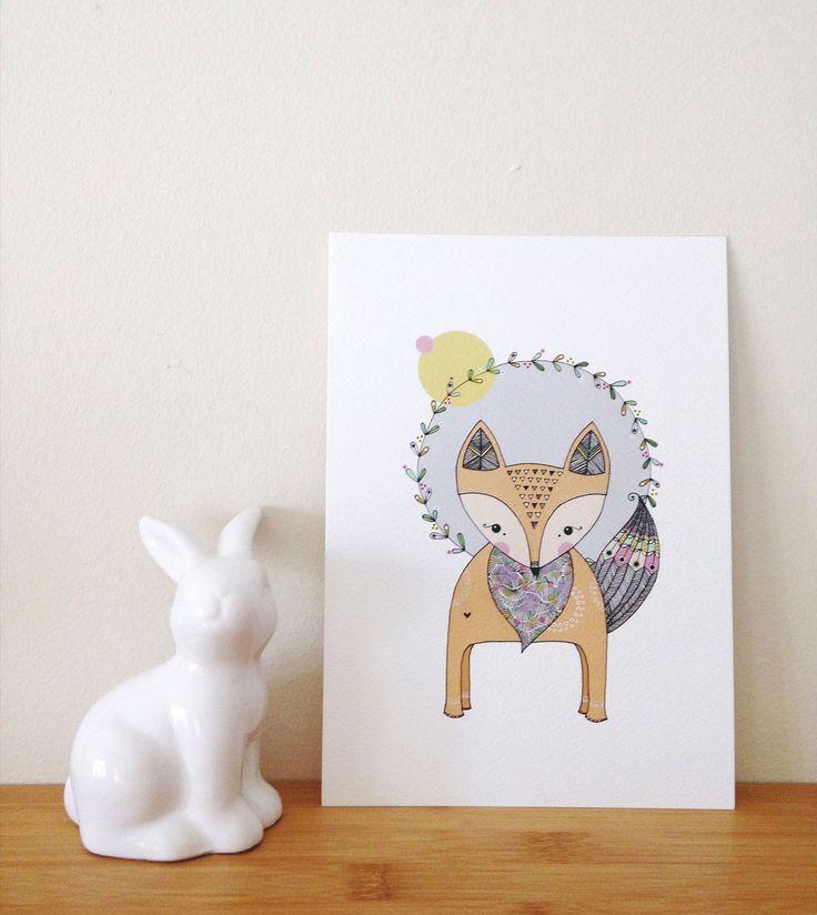 Copyright illo 2015 | All artwork belongs to Vivienne van Deventer | Fox Art-print | Illustration | Fox | Bushy Tail | Patterns | Hand Illustrated | Wreath | Nursery | Triangles